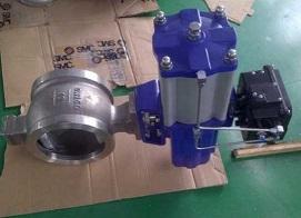 Q671F气动V型对夹球阀
